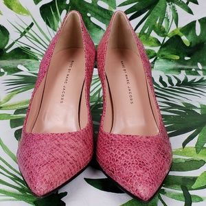 Marc by Marc Jacobs pink snakeprint pointy heel 39